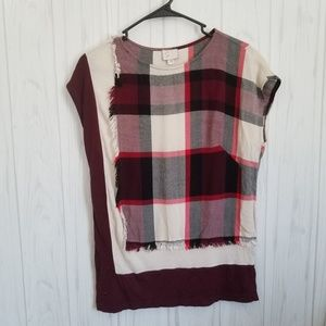 Anthropologie Postage Stamp Plaid Blouse